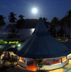 A full moon rises over Maracas Bay
