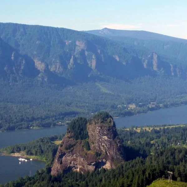 Views of the Columbia River Gorge and Beacon Rock from the summit of Mt. Hamilton, Washington