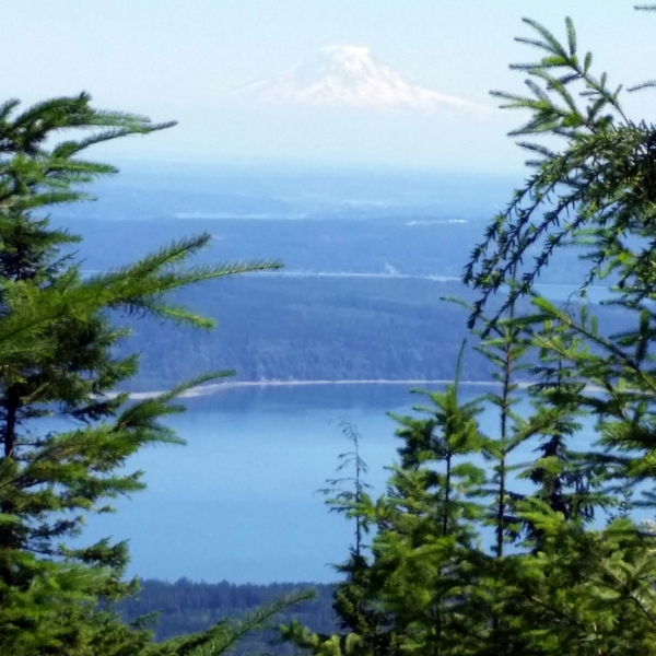 Views of the Hood Canal and Mt. Rainier from the summit of Mt. Walker, Washington